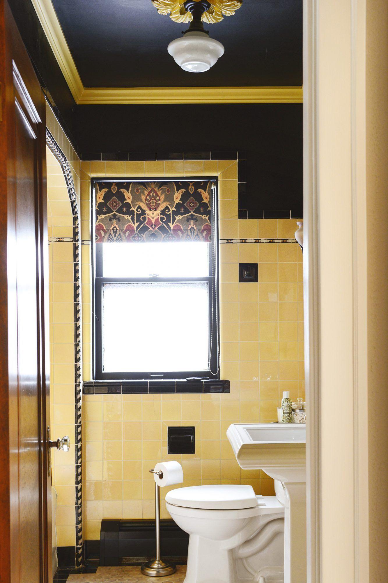 How To Refresh A Vintage Bathroom Keep The Charm I Of Ii Yellow Bathrooms Yellow Bathroom Tiles Vintage Bathroom