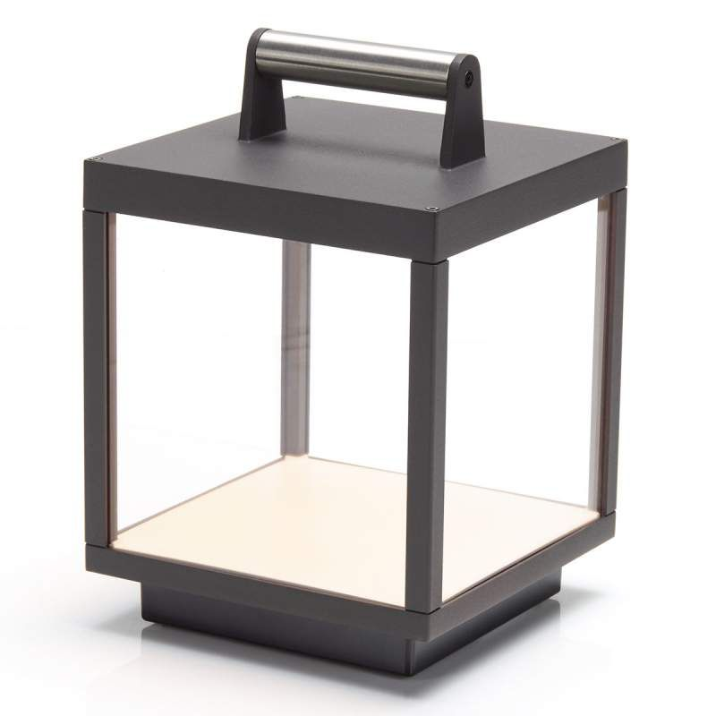 LED-Tischleuchte Cube für außen, aufladbar von Lampenwelt.com