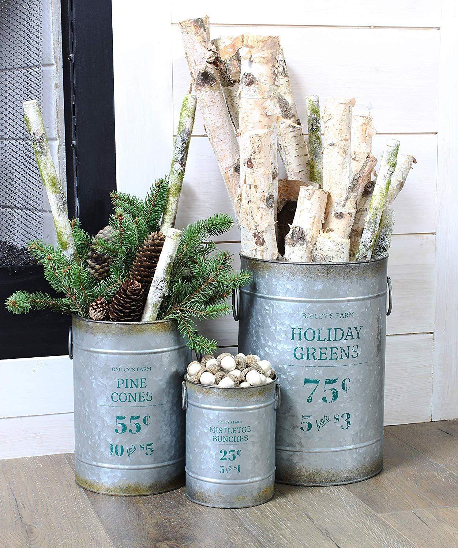 Christmas galvanized greenery buckets set of 3 large