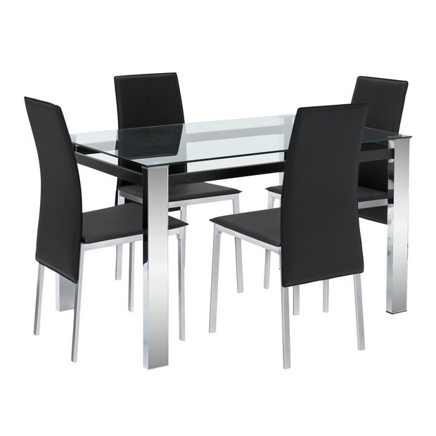 Buy Argos Home Fitz Clear Glass Dining Table 4 Black Chairs