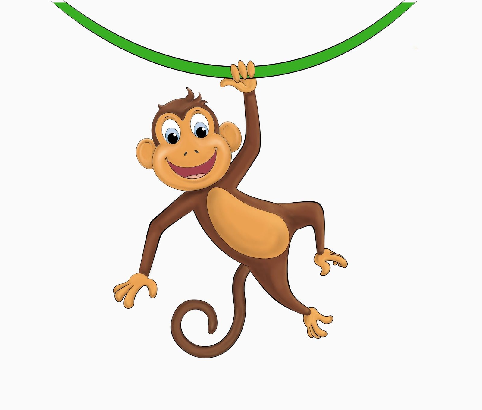 hanging monkey template clipart