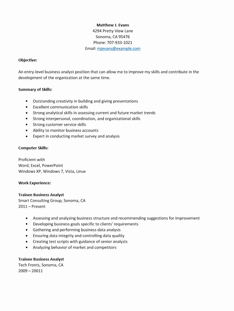 Entry Level Data Analyst Resume Unique Entry Level Business Analyst Level Resume Template Business Analyst Business Analyst Resume Data Analyst