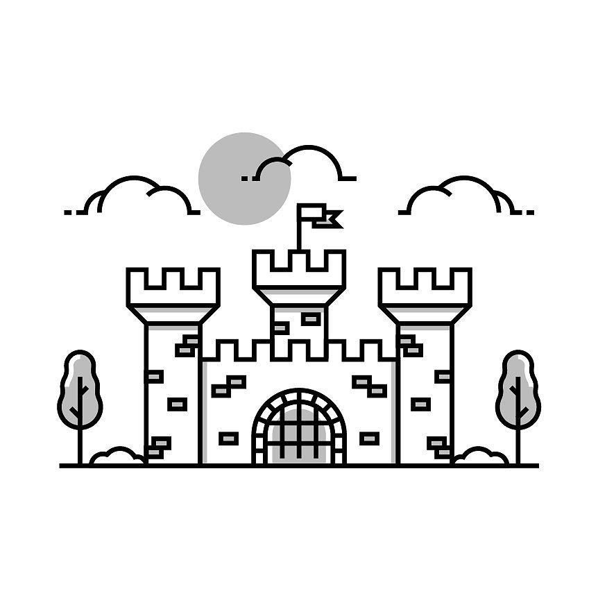 Castle Illustration Vector Icon Sun Trees Clouds