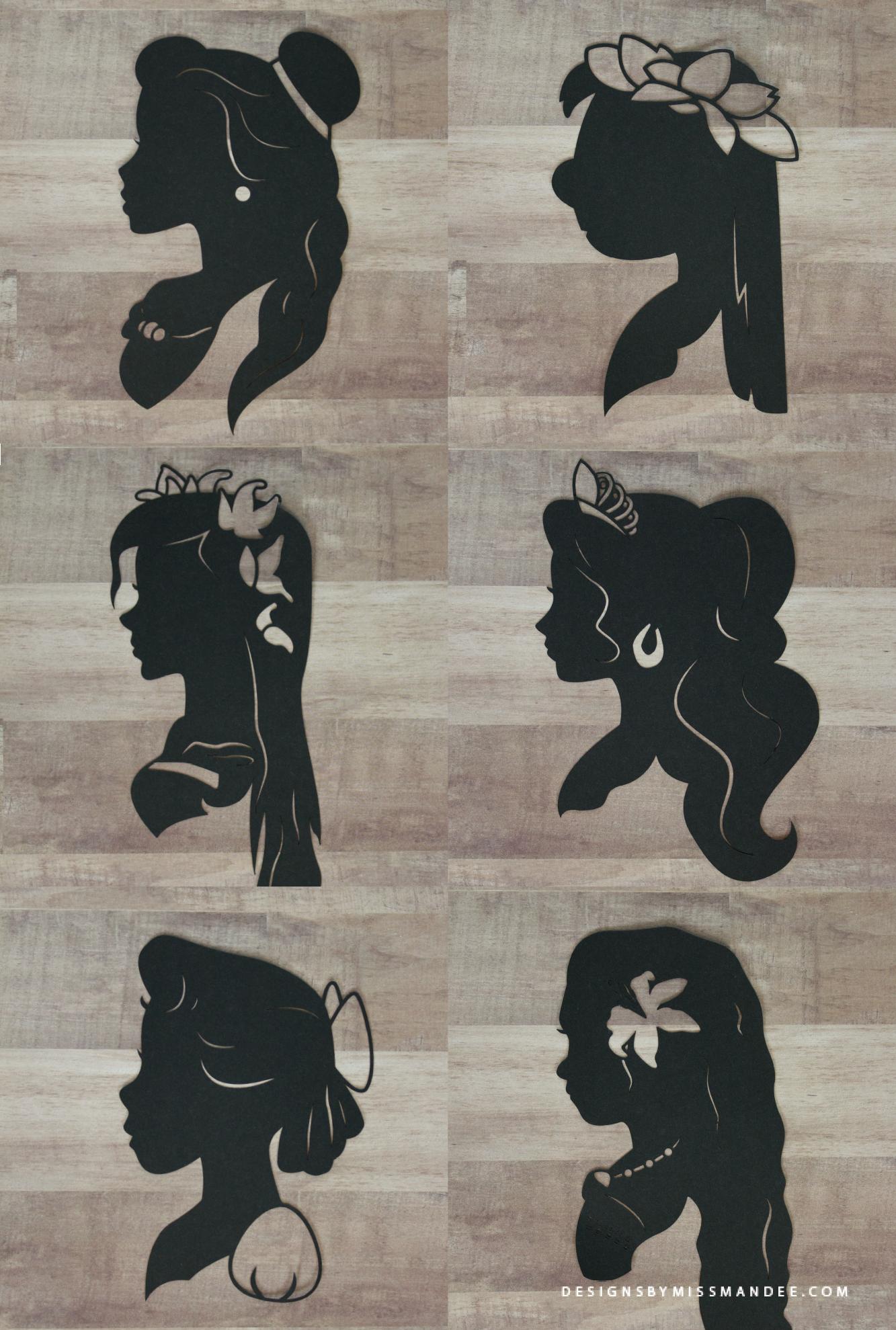Disney Princess Silhouettes v.4 Pochoir silhouette
