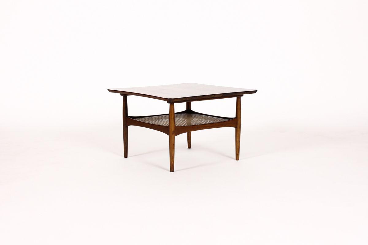 861 Danish Modern Mid Century Low Square Coffee Table Walnut Construction W Lower Cane Storage She Coffee Table Square Coffee Table Walnut Coffee Table [ 800 x 1200 Pixel ]