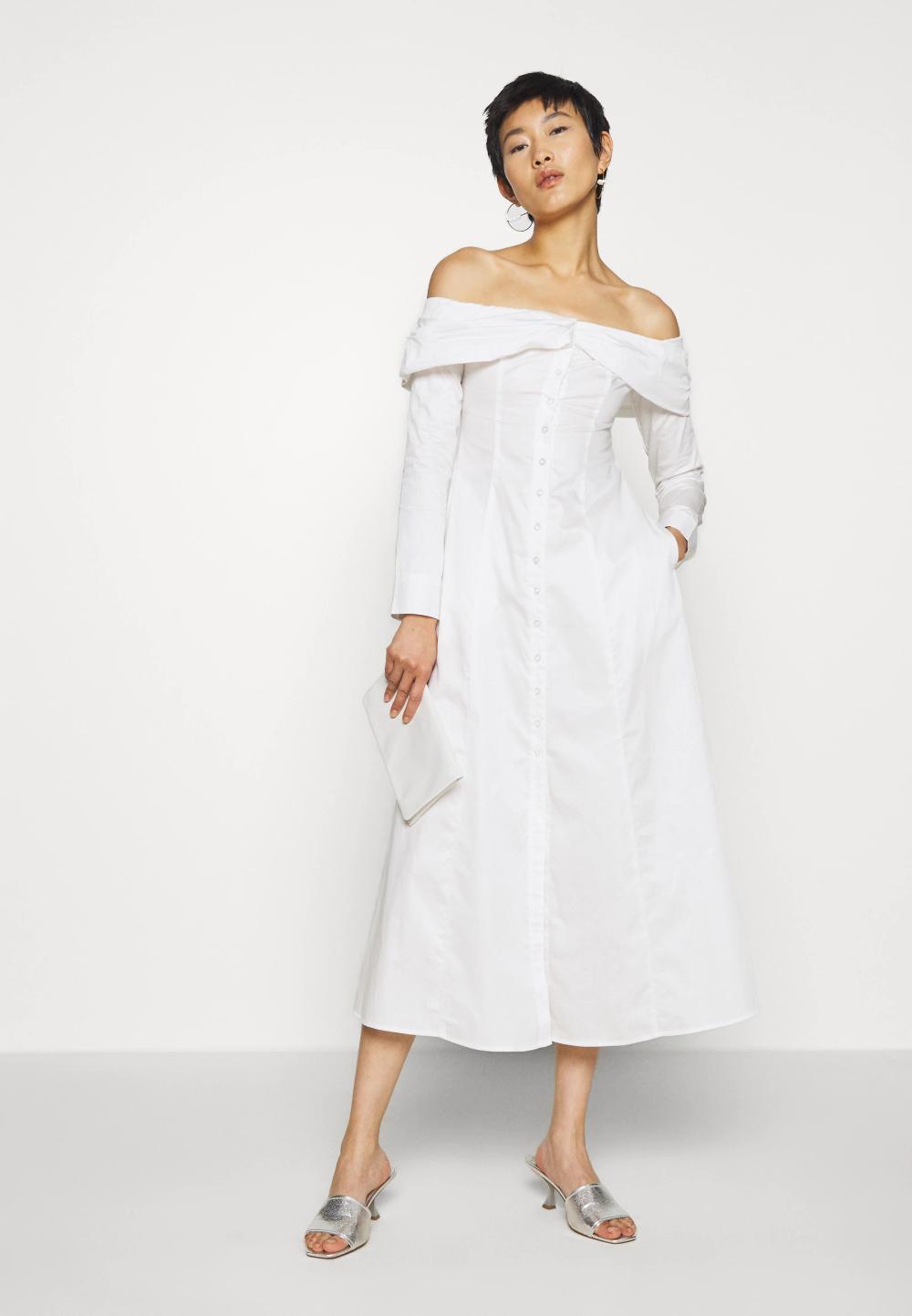 The Off The Shoulder Dress Shirt Dress White Zalando Co Uk In 2020 White Shirt Dress Dresses Shoulder Dress