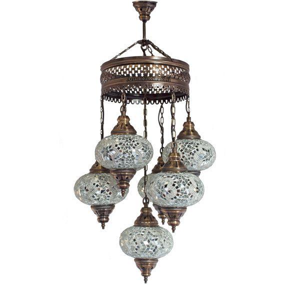 Moroccan Lantern Chandelier Turkish Lamp Hanging Light Mosaic