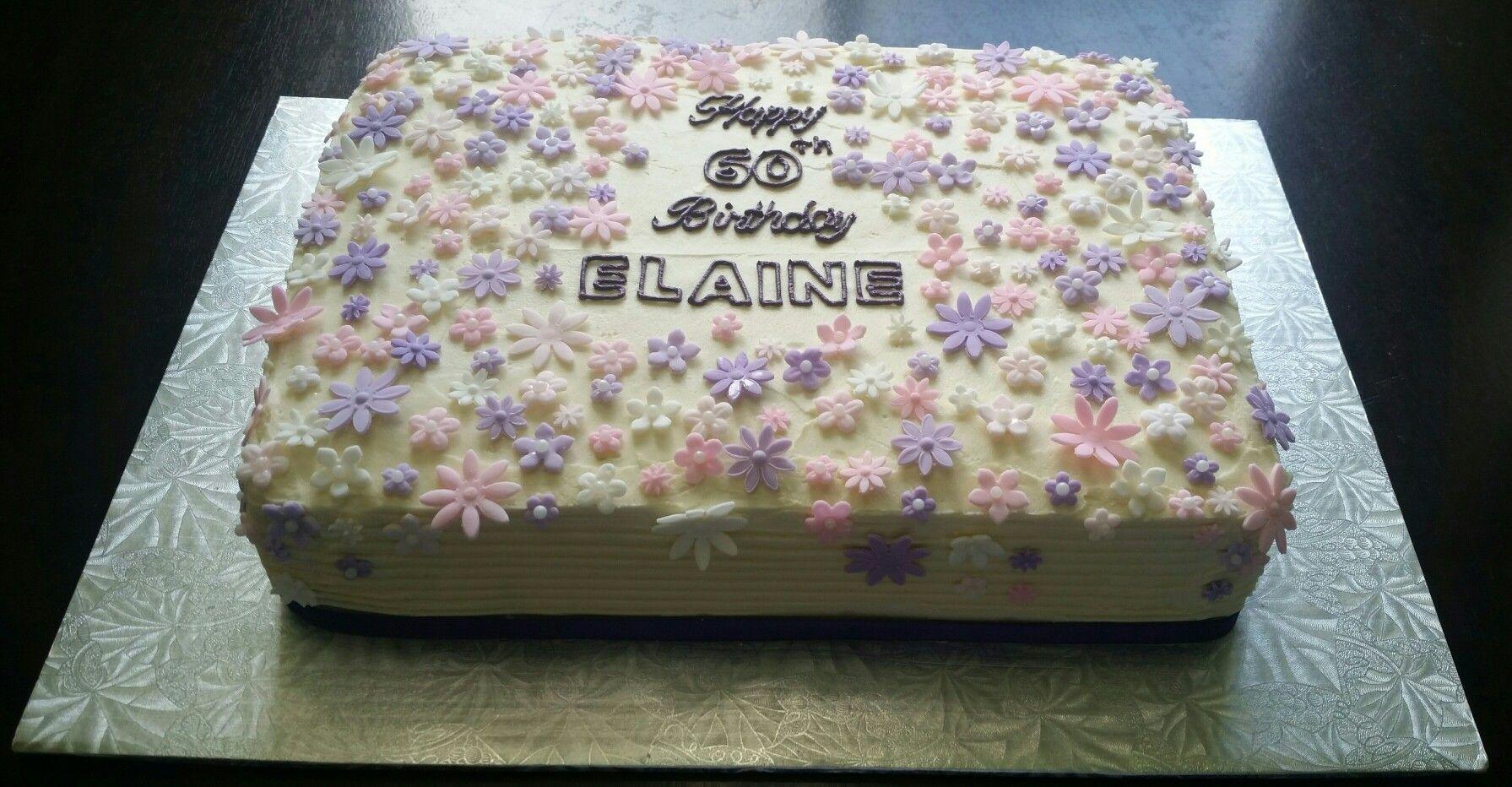 60th birthday slab cake with fondant flowers