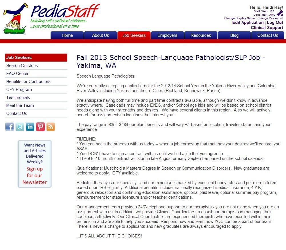 Fall 2013 School SpeechLanguage Pathologist/SLP Job