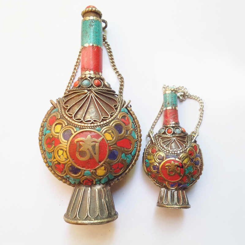 BYH048 Nepal Snuff Bottle Tibetan OM Amulet Pendants Tibet Collectibles Fork Arts
