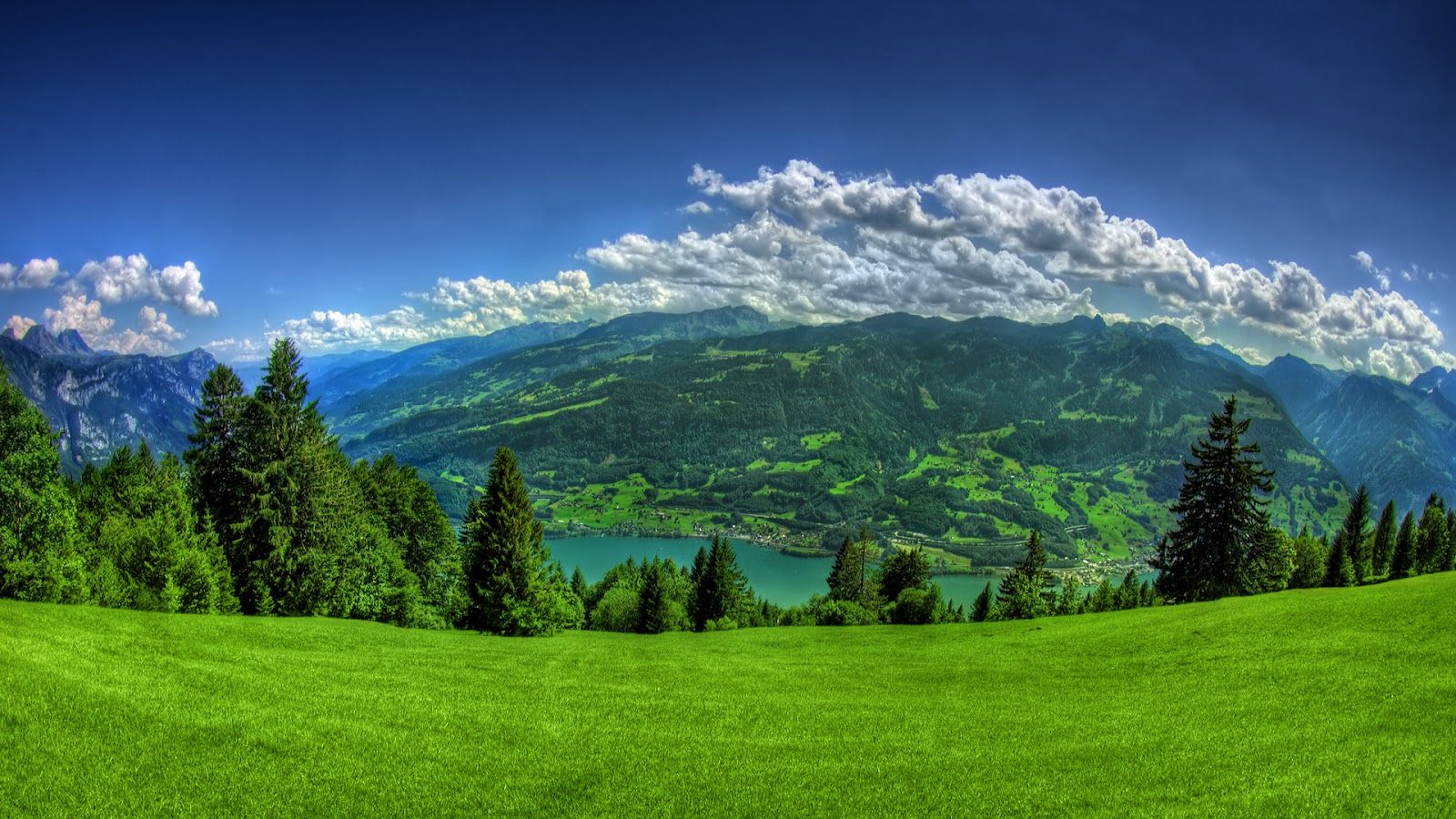 Lush Green Grass Mountains Full Hd Nature High Res Wallpapers For