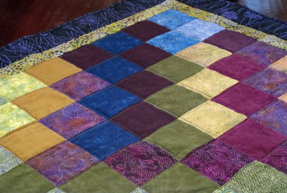 Purples Greens and Blues Handmade Quilt by ForComfortQuilts