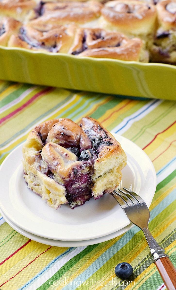 These fluffy and delicious Blueberry Sweet Rolls are made with homemade blueberry preserves and topped with lemon glaze