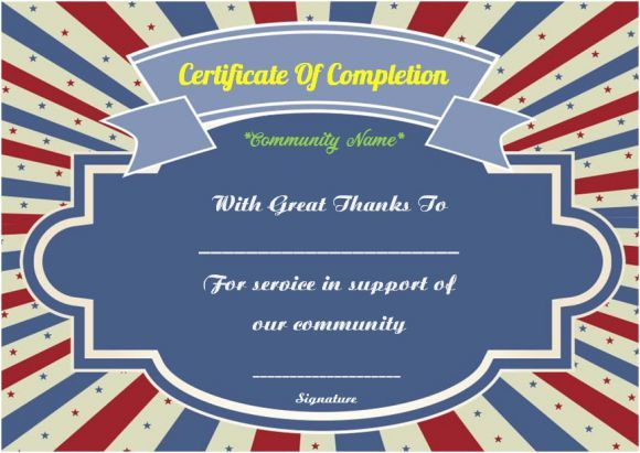 Certificate of service template posthumous award template best community service certificate of completion template community yadclub Choice Image