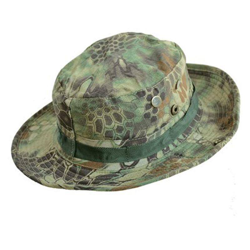 15528efc0bd Summer Men s Military Bucket Hats Panama Jungle Camouflage Hat Wide Brim  Clim Sun Fishing Bucket Hat