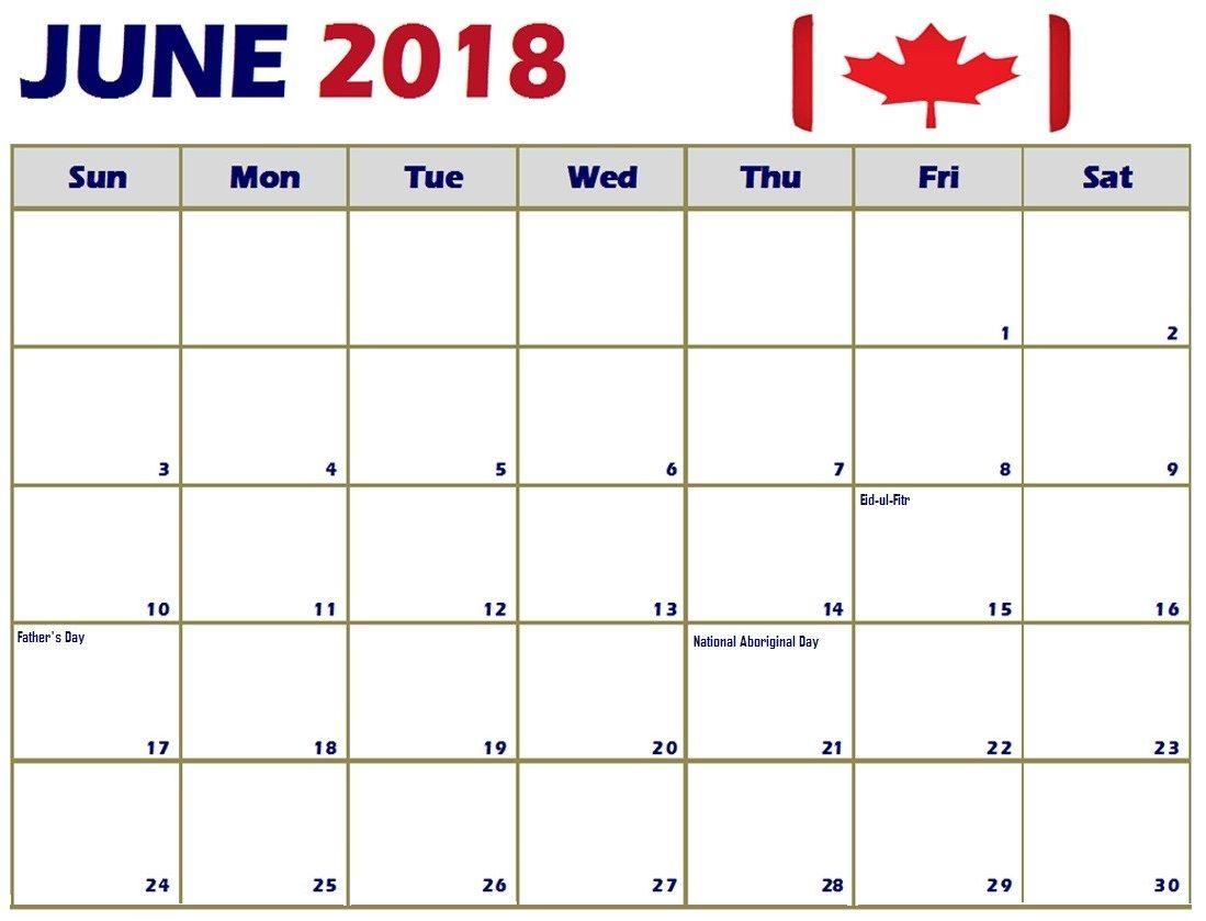 June 2018 Calendar For Canada Holiday templates