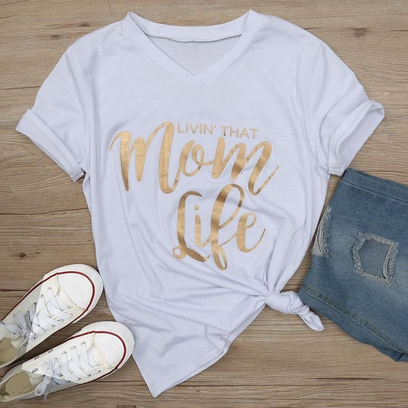 Mom Life Metallic Letter Print Tee  Products