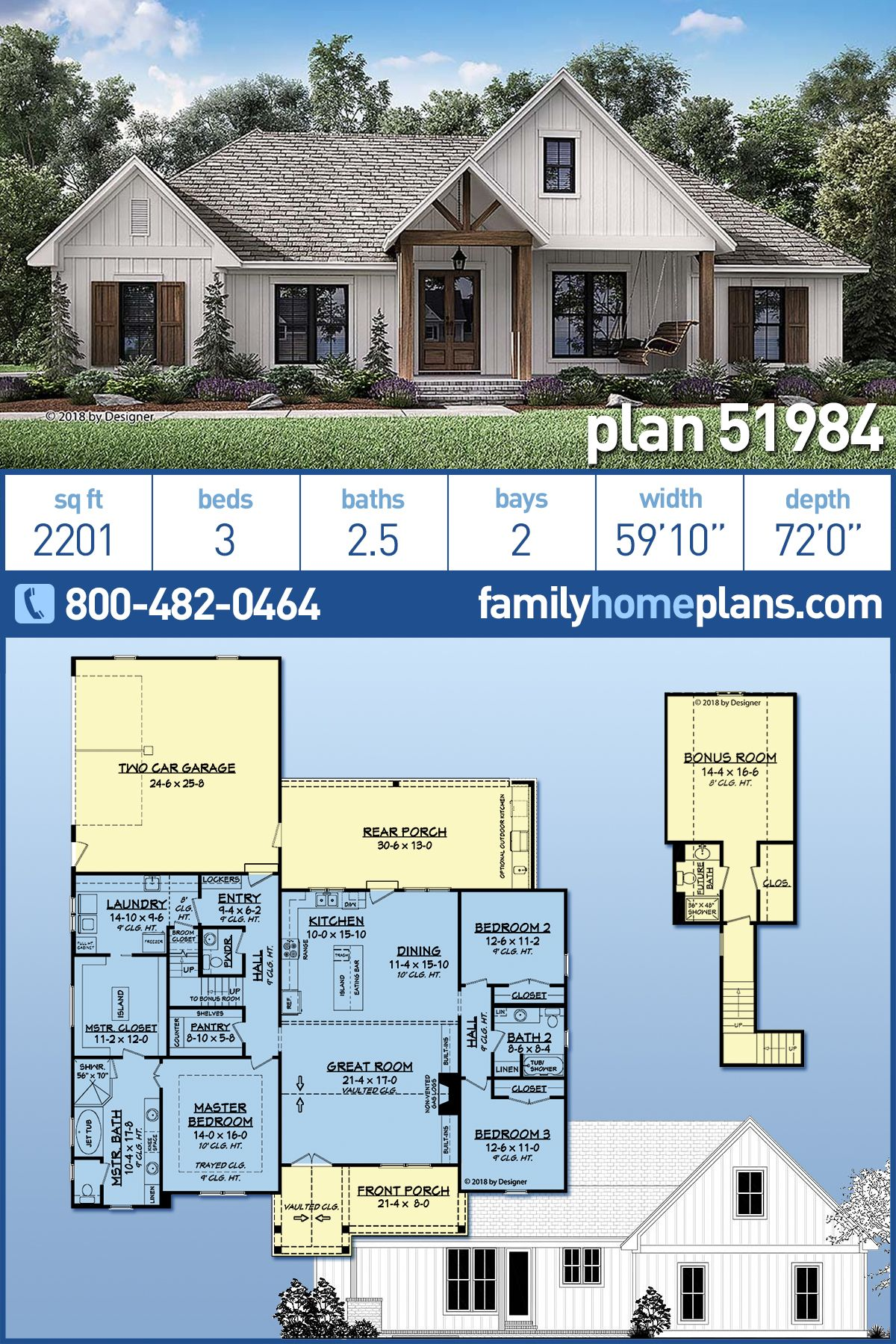 Southern Style House Plan 51984 With 3 Bed 3 Bath 2 Car Garage Family House Plans Craftsman House House Plans Farmhouse