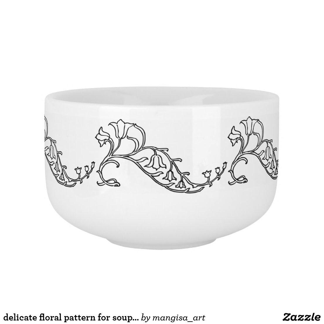 delicate floral pattern for soup mug