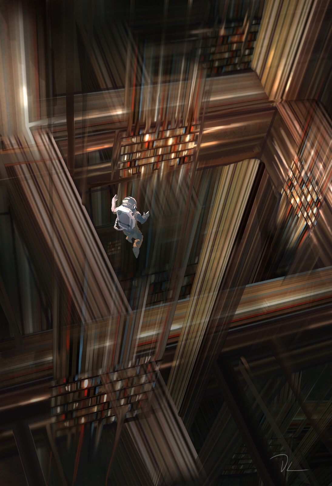 Spitpainting: endless library, Denis Loebner