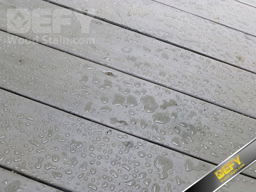 Water Beading On A Deck Stained With Defy Extreme Wood