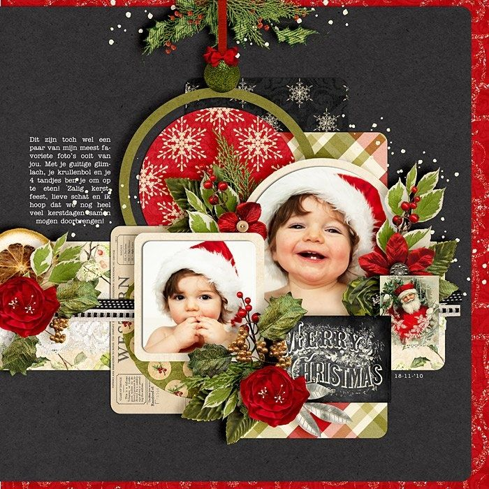 Merry Christmas...layered photos and embellishments really stand out on a simple black background.