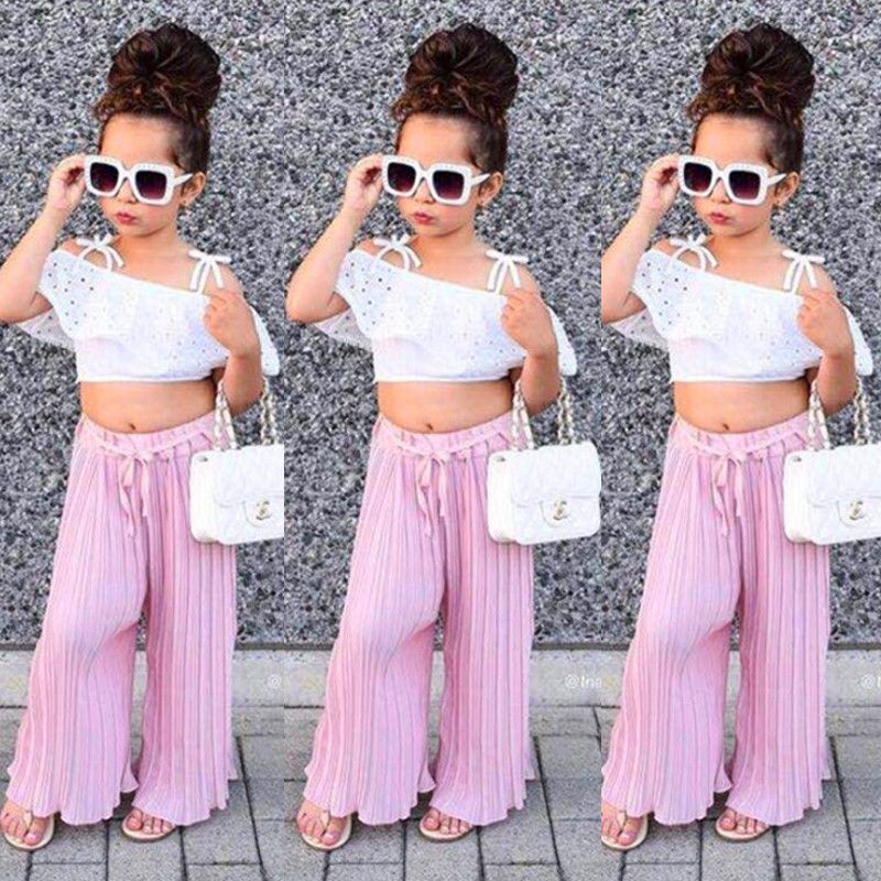 ed615a3507be6 US Lace Kids Baby Girl Stripe Off Shoulder Crop Tops Pants Outfit Clothes  Summer  Divawear