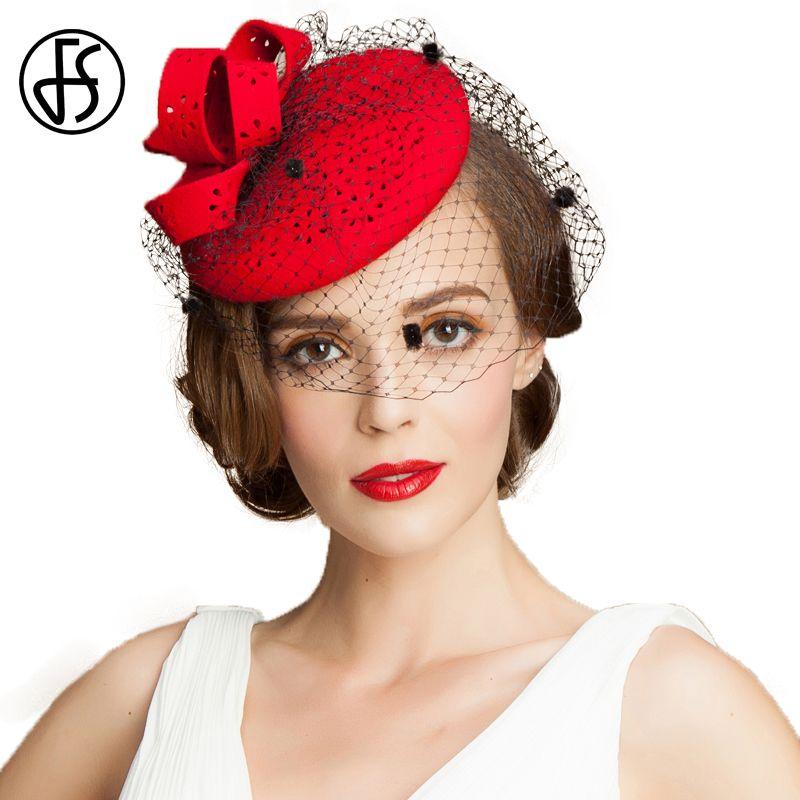 FS Black Fascinator 100% Wool Pillbox Hats For Women