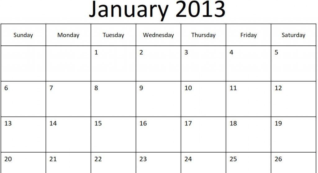 2013 Monthly Calendar Pdf Yearly Calendar Template Calendar