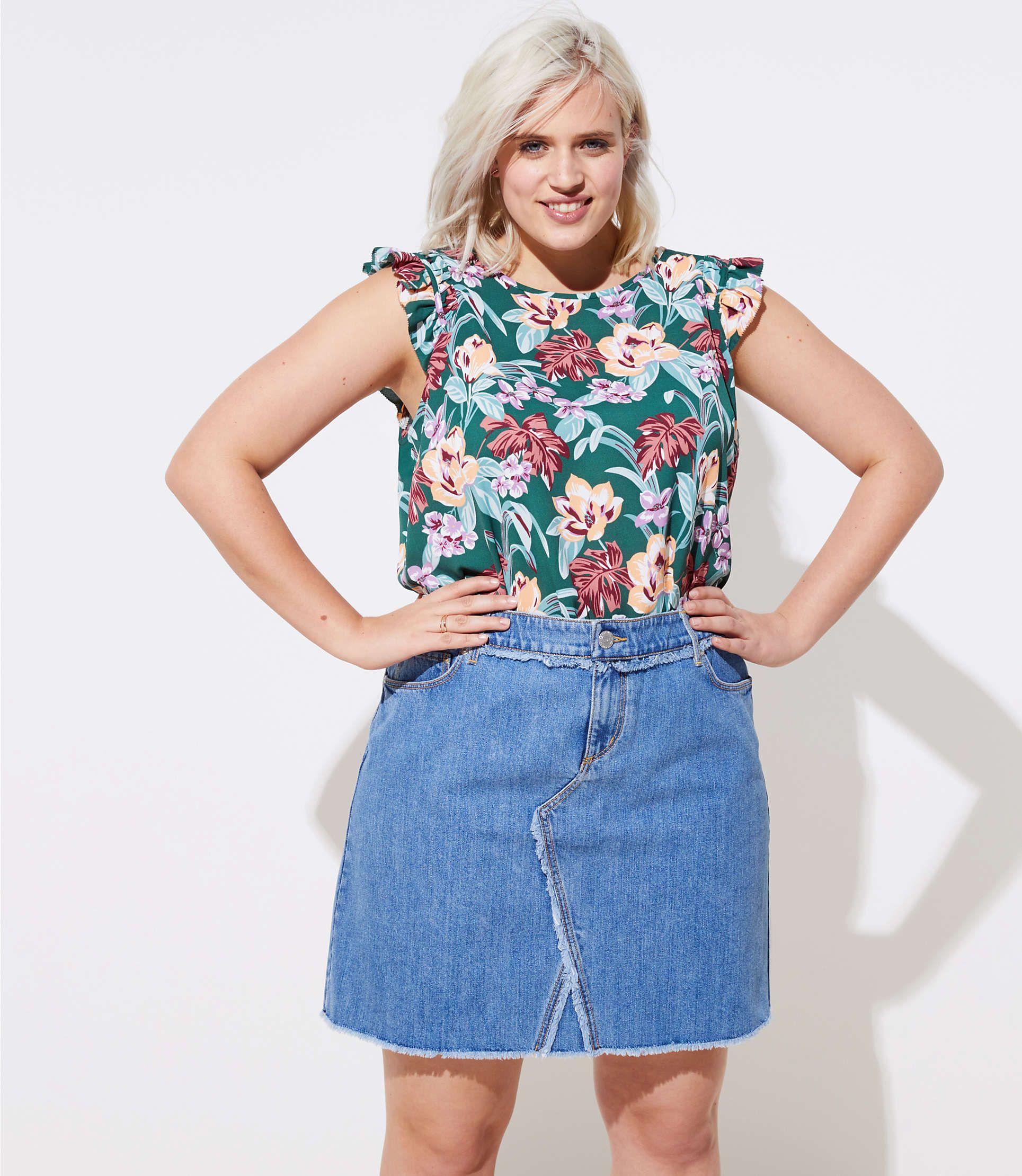 31d3c736e46c92 LOFT Plus Frayed Denim Skirt