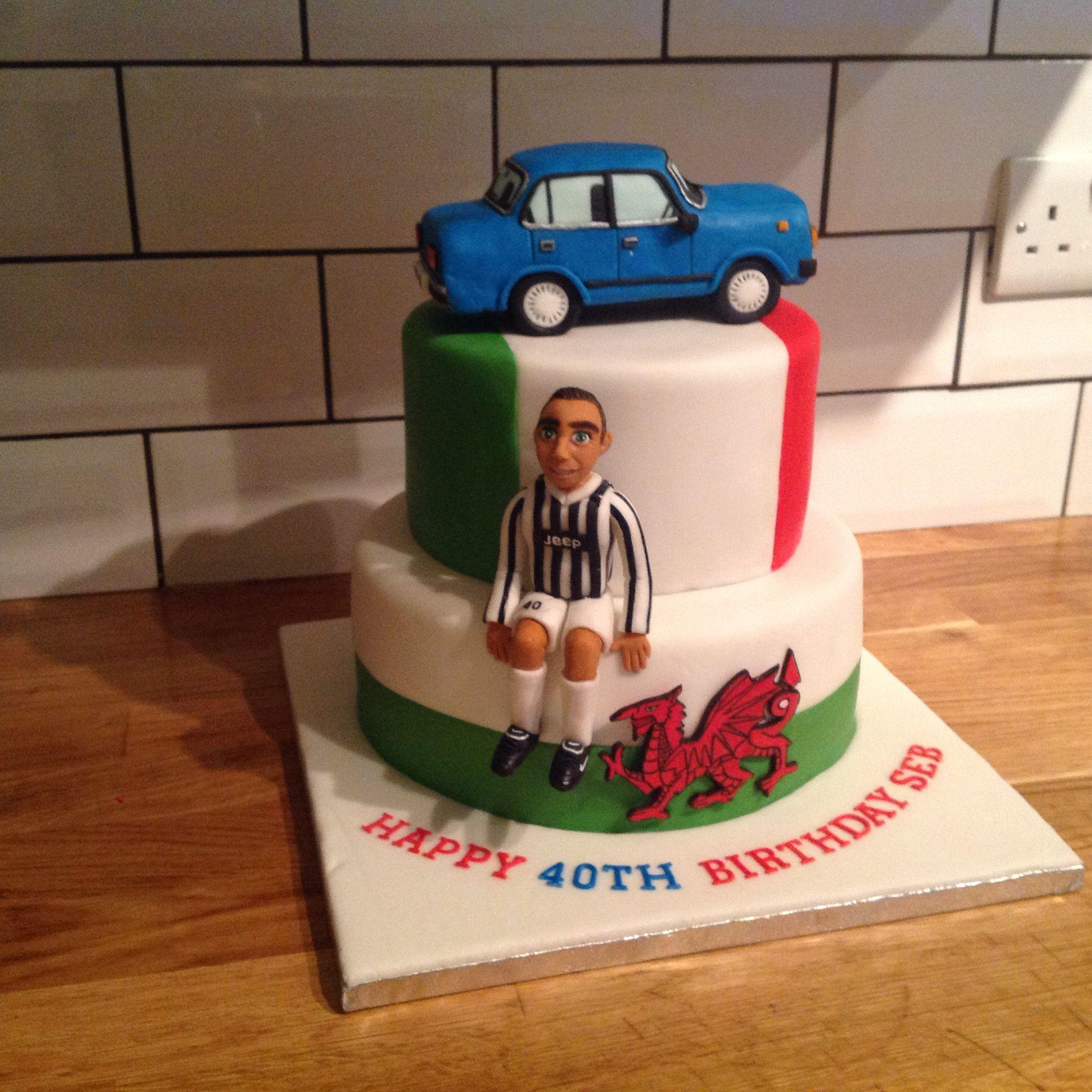 Italian flag Welsh flag cake Juventus car cake topper Birthday