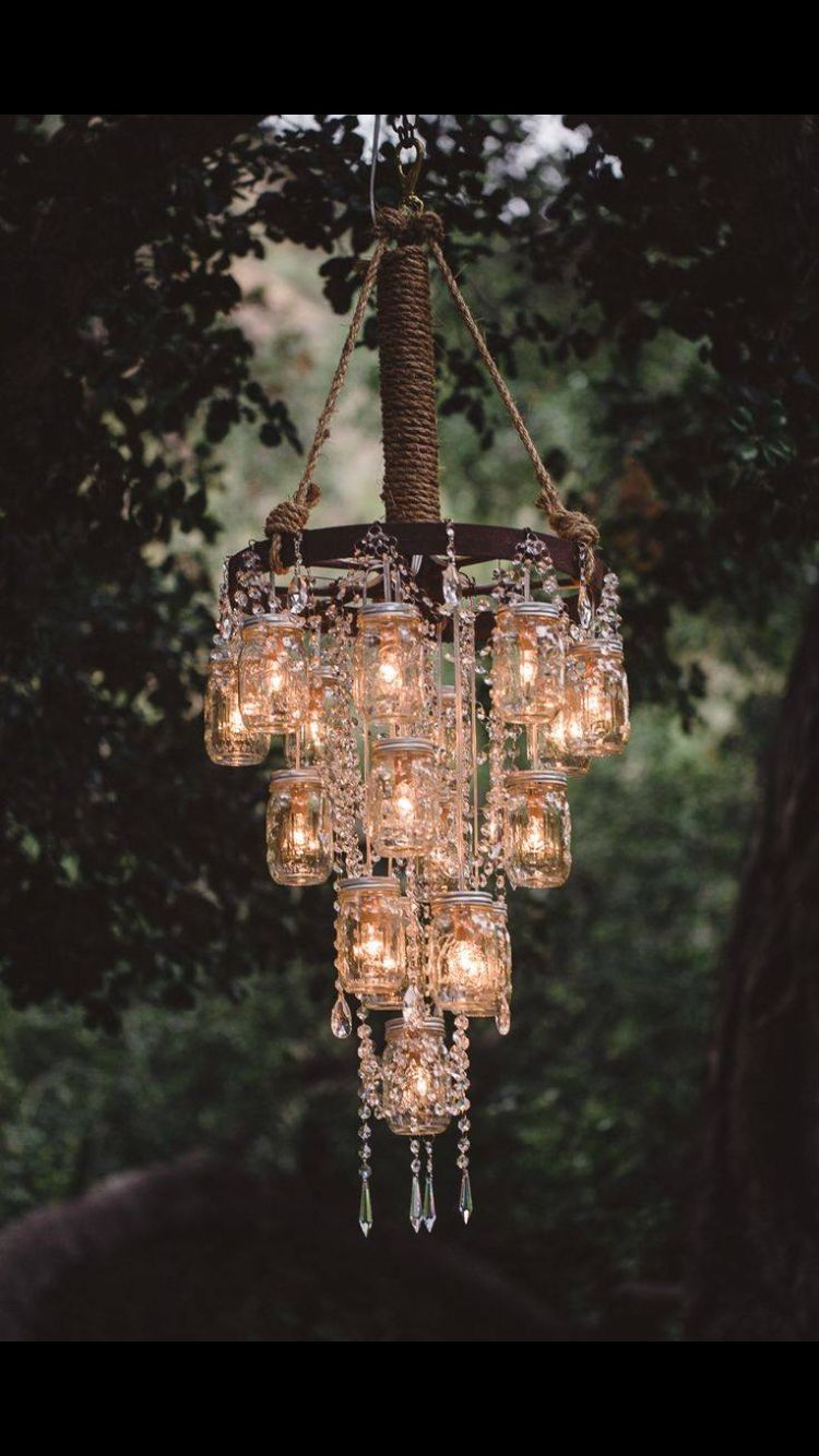 Obsessed with making your own chandeliers with mason jars I Do