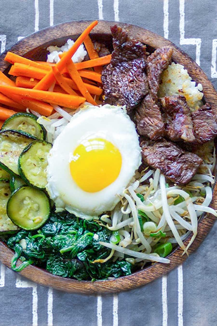 Bibimbap Korean Rice Bowl Of Bulgogi Beef Vegetables And Spicy Sauce Recipe Bulgogi Beef Bibimbap Recipe Bibimbap