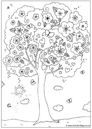 blossom tree colouring page kids japanese learning - Cherry Blossom Tree Coloring Pages