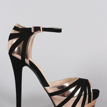 Anne Michelle Suede Striped Stiletto Platform Heel