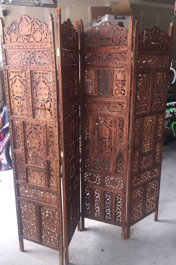 Local Pickup Vintage 4 Panel Hand Carved Floral Rosewood