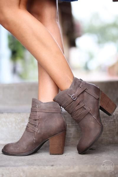 3832fdac1d9c Happy Go Lucky Booties - cute taupe buckle ankle booties