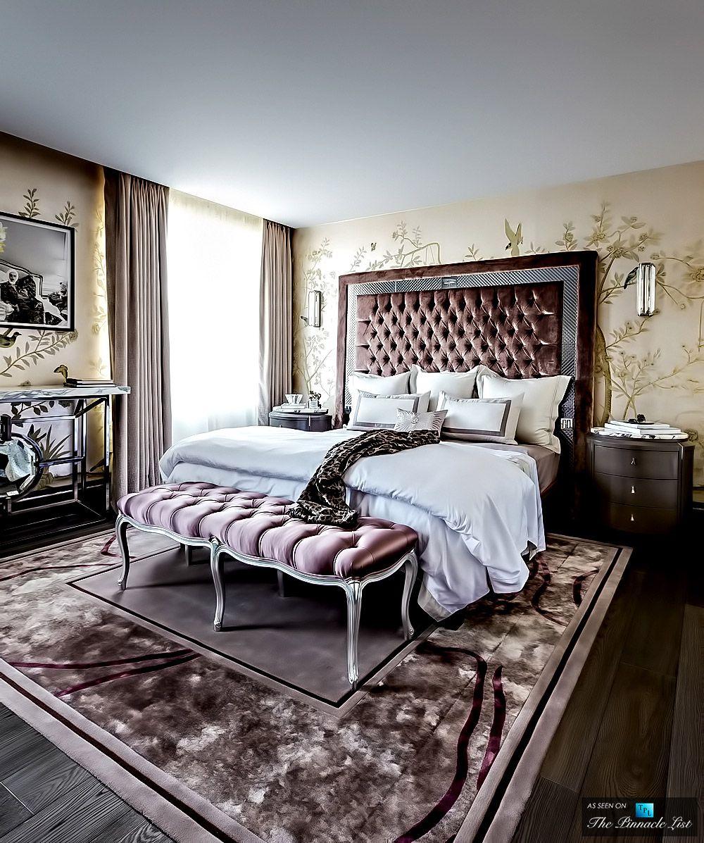 Romantisches schlafzimmer interieur knightsbridge district residence u london england uk