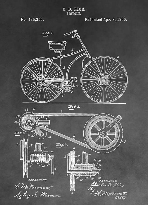 Antique bicycle patent black and white my photography and digital antique bicycle patent black and white by dan sproul bicycle drawingbicycle artblueprint malvernweather Images
