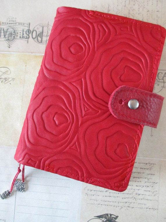 Handcrafted leather Hobonichi style A6 size planner cover with pen loop
