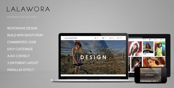 LALAWORA ONE PAGE HTML5 DOWNLOAD  Lalawora is responsive one page HTML5 with clean and minimalist design.It can be used for creative digital agent to show portfolio and selling services. Its build based on twitter bootstrap ,so it has powerfull features.