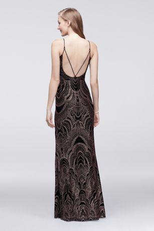 Long Slip Dress With Glitter Print Style 49260d Prom Dresses