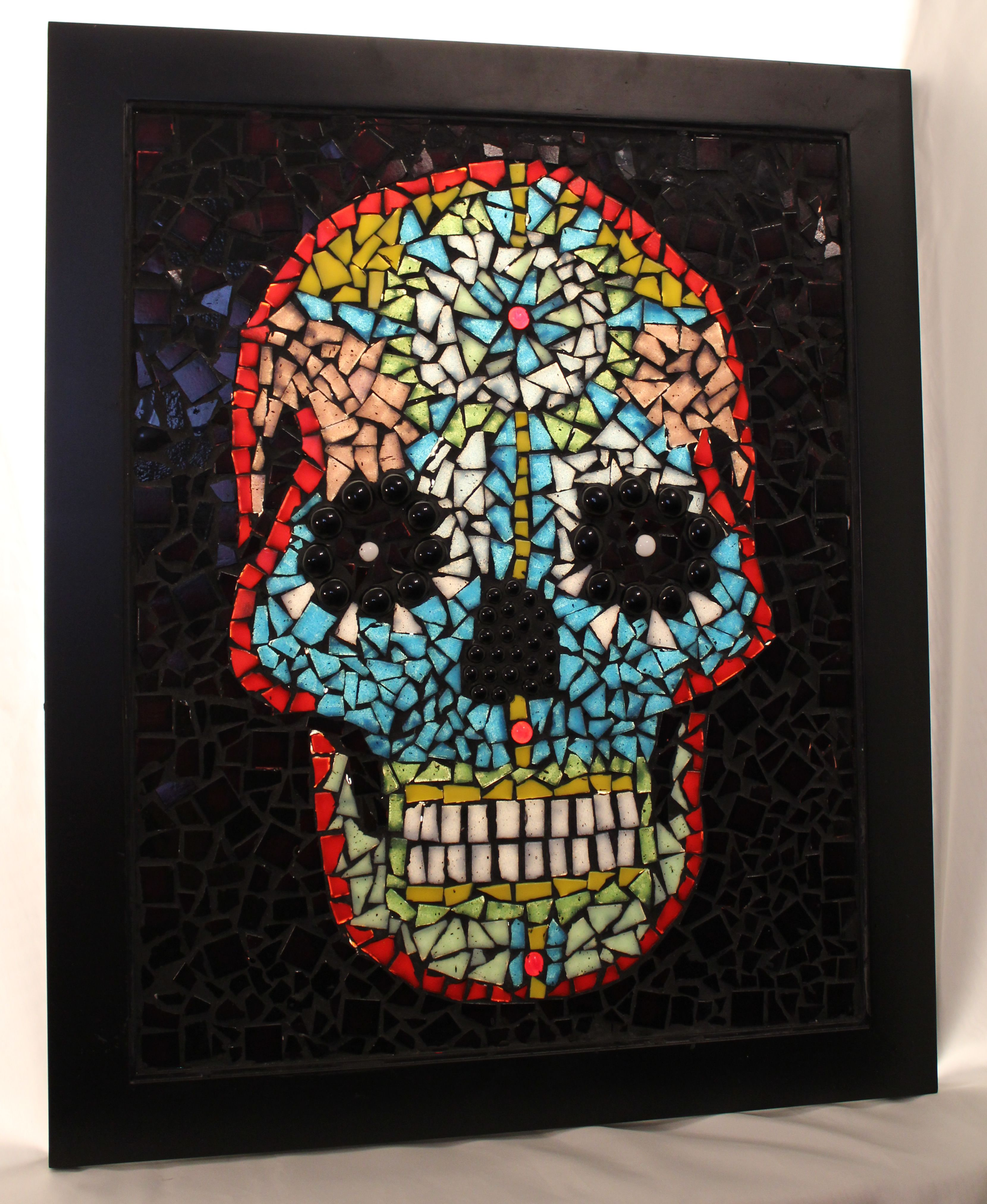 Day of the Dead style mosaic skull