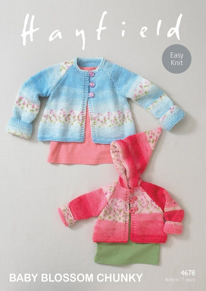 Hayfield Baby Coats Blossom Knitting Pattern 4678 Chunky