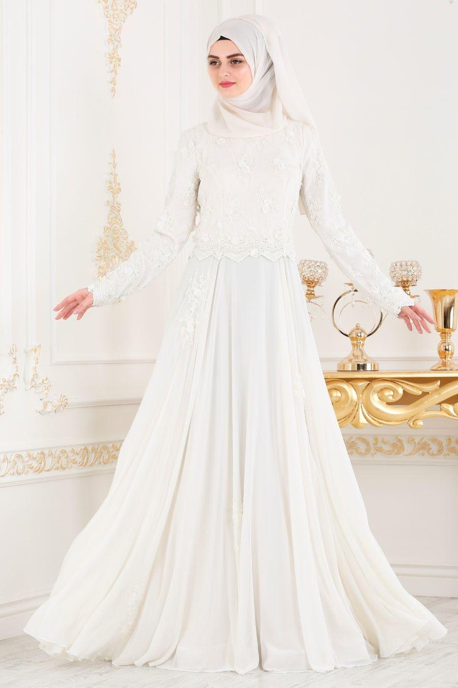 Tesetturlu Abiye Elbise Boncuk Detayli Beyaz Tesettur Abiye Elbise 43961b Tesetturisland Com Elbise The Dress Elbiseler