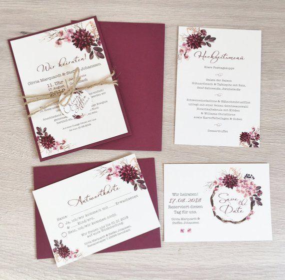 Einladung Hochzeit, Hochzeitseinladung, Vintage, Blumen, Bordeaux, Altrosa - Serie 33 #decorationengagement