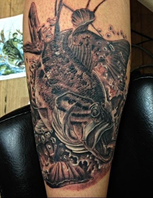 Maori Largemouth Bass Tattoo: Small Mouth Bass Fish Tattooed By Julian Ybarra