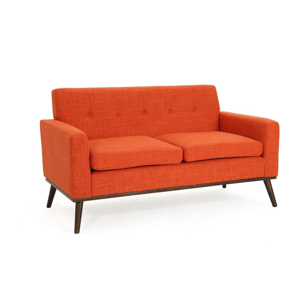 Mid Century Modern Orange Fabric Loveseat in 2020 Love