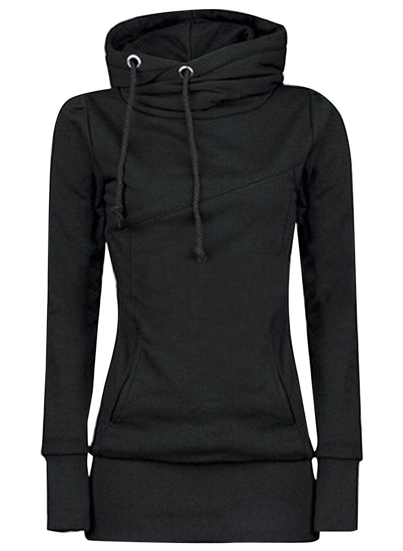 Macondoo Womens Slim Sport Jacket Coat Zip Hooded Sweatshirts