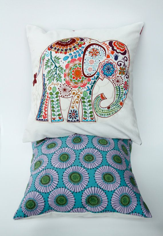 "Elephant Pillow- 12""x12"" Decorative Cushion Cover with colorful paisley elephant appliqué, brown and blue abstract backing on Etsy, $25.00"